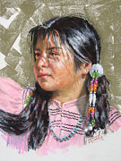 Indian Pastels Prints - Indian Girl in Pink Print by Leslie B DeMille
