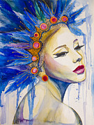 Watercolor Jewelry Posters - Indian Girl  Poster by Slaveika Aladjova