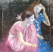 India Pastels Metal Prints - Indian Girls Metal Print by Sigalit Aharoni