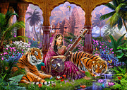 Tiger Illustration Framed Prints - Indian Harmony Framed Print by Jan Patrik Krasny