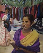 Clothes Pastels Framed Prints - Indian Market Framed Print by Marion Derrett