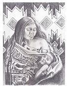 Native Americans Drawings Posters - Indian Mother and Child Poster by John Keaton