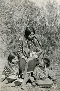 Poncho Framed Prints - Indian Mother With Daughters Framed Print by Charles Beeler