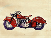 Wheels Digital Art Prints - Indian Motor Bike Print by David Ridley