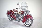 Indian Paintings - Indian Motorcycle by Anthony Butera