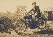Harley Davidson Photo Originals - Indian Motorcycle Woman Rider by Paul Ashby Antique Images