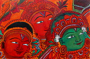Kerala Murals Metal Prints - Indian Mural Art Metal Print by Reshma Roy