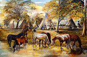 Western Paintings - Indian Ponies by Patrick Rahming