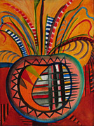 Indian Pot With Feathers Print by Del Marinello