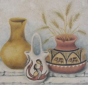 Summer Celeste Painting Posters - Indian Pots Poster by Summer Celeste