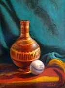 Softball Painting Posters - Indian Pottery Poster by Nabil Merza