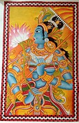 Kerala Murals Metal Prints - Indian Princess in kerala mural Metal Print by Kayathiri  Prabhuraj
