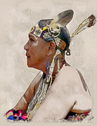 Powwow Posters - Indian Princess Poster by Linda  Parker