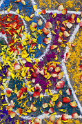 Religious Art Photos - Indian Rangoli with flower petals by Tim Gainey