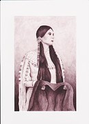 Indian Maiden Paintings - Indian Sioux Maiden by Billie Bowles