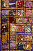 Sparkling Prints - Indian textile wall hanging Print by Tim Gainey