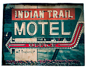 Urban Scene Digital Art Framed Prints - Indian Trail Motel Framed Print by Perry Webster