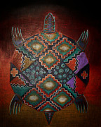 Reptiles Drawings Prints - Indian Turtle Print by Myrna Hawkins