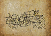 Indian Ink Framed Prints - Indian V-twin 1914 Framed Print by Pablo Franchi