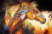 Pony Painting Posters - Indian War Horse Golden Sun Poster by Marcia Baldwin