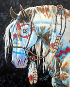 Medallion Paintings - Indian War Pony #2 by Amanda  Stewart