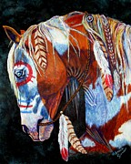 Ponies Paintings - Indian War Pony by Amanda  Stewart