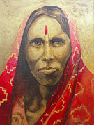 Hindi Painting Prints - Indian Woman 1 Print by Joe Pagac