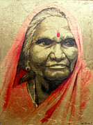 Hindi Painting Prints - Indian Woman 2 Print by Joe Pagac