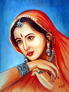 Orange Jewelry Prints - Indian Woman  Print by Pankhuri Mathur