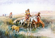 Horse And Riders Prints - Indian Women Moving Camp Print by Charles Russell