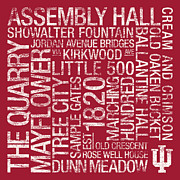 Hall Photo Posters - Indiana College Colors Subway Art Poster by Replay Photos