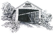Covered Bridge Drawings Posters - Indiana Covered Bridge 1896 Poster by Robert Birkenes
