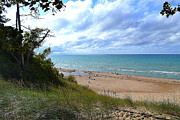 Indiana Dunes Framed Prints - Indiana Dunes Beachscape Framed Print by Amy Lucid