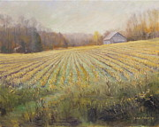 Overcast Day Paintings - Indiana Farm in Fall by Steve Haigh