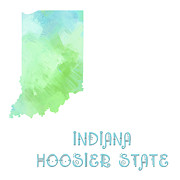 Indiana Mixed Media Prints - Indiana - Hoosier State - Map - State Phrase - Geology Print by Andee Photography