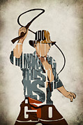 Typographic Digital Art - Indiana Jones - Harrison Ford by Ayse T Werner