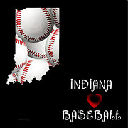 Abstract Map Posters - Indiana Loves Baseball Poster by Andee Photography