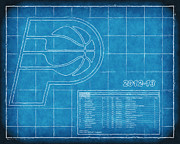 Nba Playoffs Prints - Indiana Pacers Blueprint Print by Joe Myeress