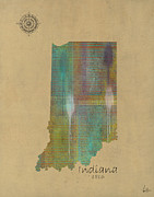 Maps Paintings - Indiana State Map  by Brian Buckley