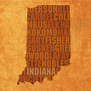 Indiana Mixed Media Prints - Indiana State Word Art on Canvas Print by Design Turnpike