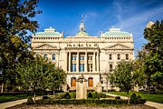 Municipal Metal Prints - Indiana Statehouse State Capital Building Picture Metal Print by Paul Velgos
