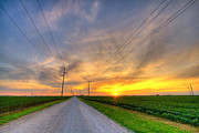 Rural Indiana Posters - Indiana sunset Poster by Alexey Stiop