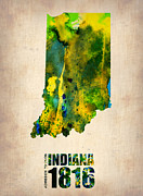 Us State Map Prints - Indiana Watercolor Map Print by Irina  March