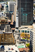 Business-travel Framed Prints - Indianapolis Aerial Picture of Monument Circle Framed Print by Paul Velgos