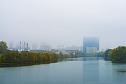 White River Prints - Indianapolis Autumn Skyline Fog Print by David Haskett