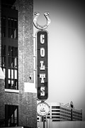 Indianapolis Metal Prints - Indianapolis Colts Sign Picture in Black and White Metal Print by Paul Velgos