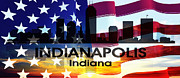 Indiana Mixed Media Prints - Indianapolis IN Patriotic Large Cityscape Print by Angelina Vick