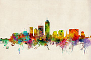 Urban Watercolor Prints - Indianapolis Indiana Skyline Print by Michael Tompsett