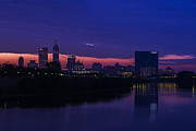 White River Prints - Indianapolis Indiana Skyline Sunrise Blue Hour Victory Print by David Haskett