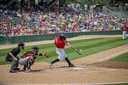 Victory Field Photo Prints - Indianapolis Indians Brett Carroll June 9 2013 Print by David Haskett